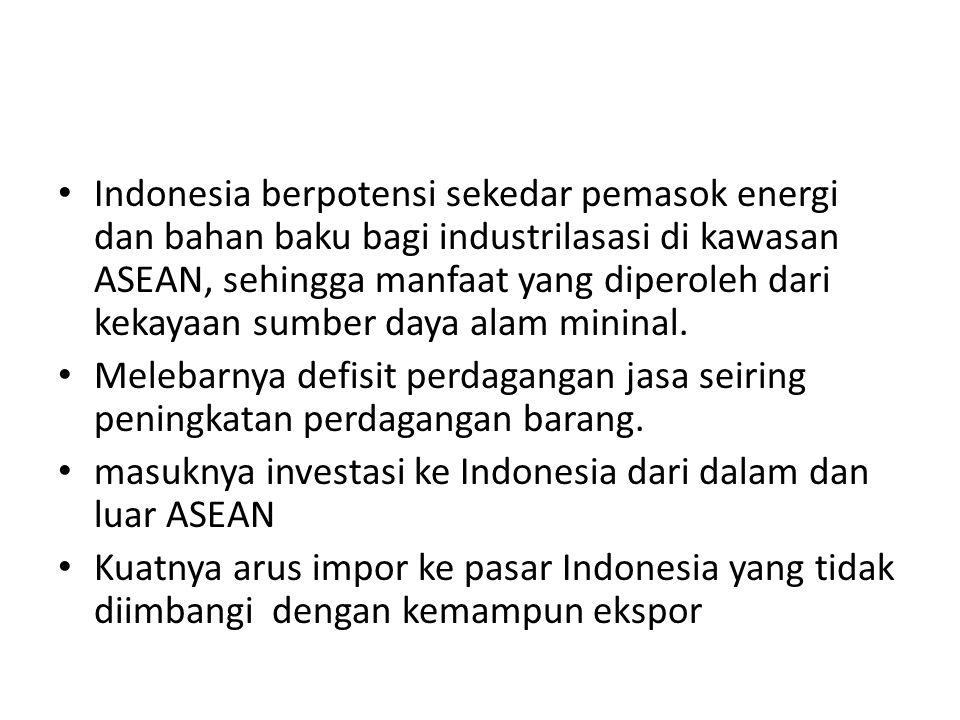 Indonesia berpotensi sekedar pemasok energi dan bahan baku bagi industrilasasi di kawasan ASEAN, sehingga manfaat yang diperoleh dari kekayaan sumber