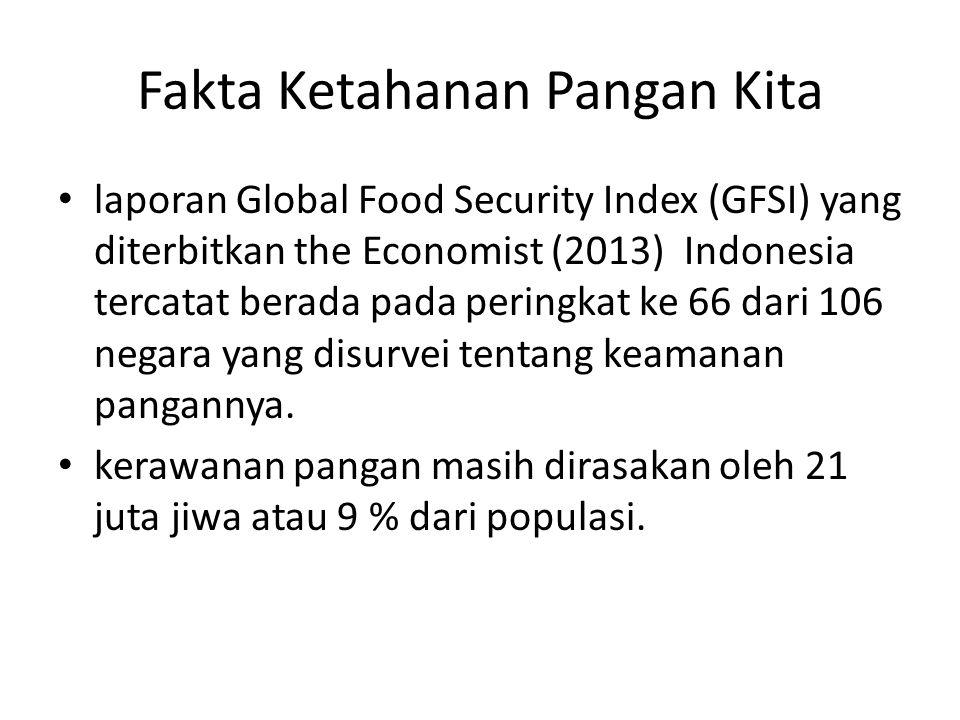 Fakta Ketahanan Pangan Kita laporan Global Food Security Index (GFSI) yang diterbitkan the Economist (2013) Indonesia tercatat berada pada peringkat k