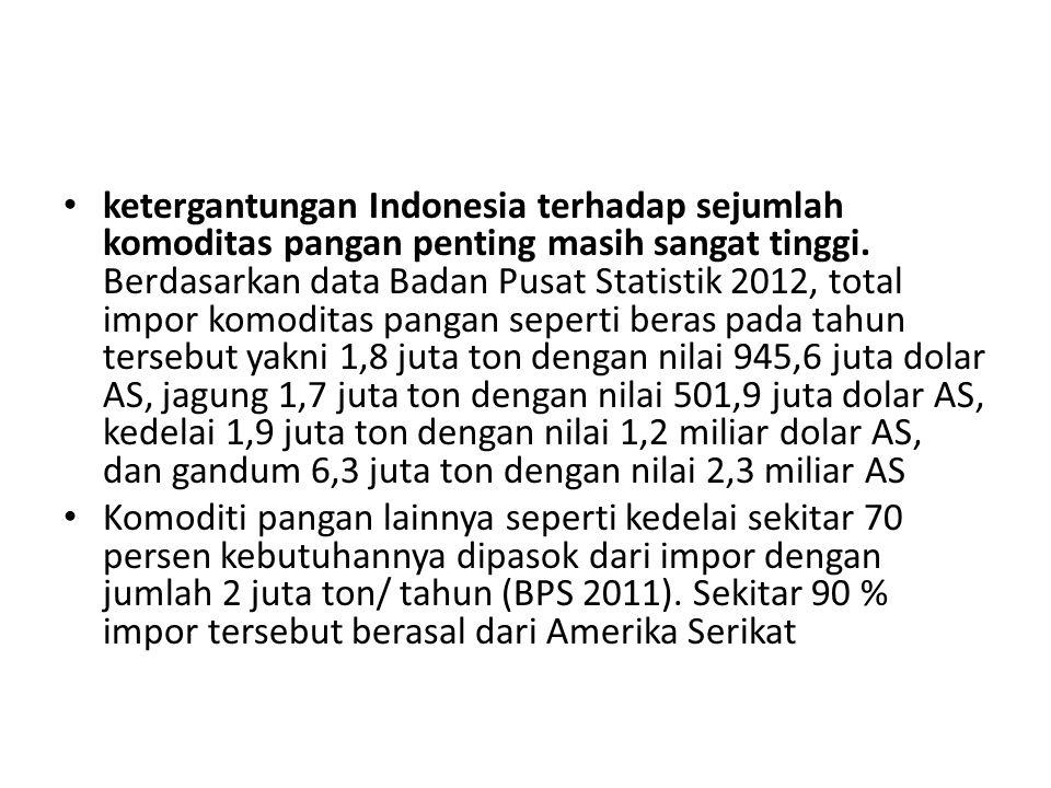 ketergantungan Indonesia terhadap sejumlah komoditas pangan penting masih sangat tinggi. Berdasarkan data Badan Pusat Statistik 2012, total impor komo
