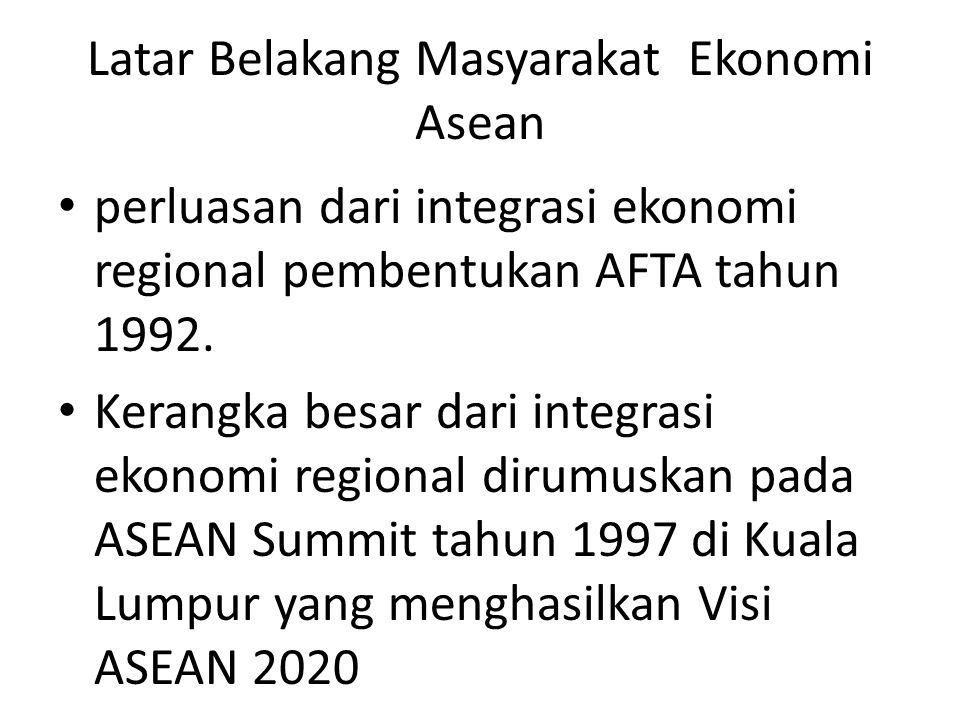 Latar Belakang Masyarakat Ekonomi Asean perluasan dari integrasi ekonomi regional pembentukan AFTA tahun 1992. Kerangka besar dari integrasi ekonomi r
