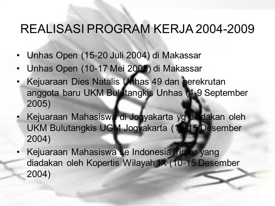 REALISASI PROGRAM KERJA 2004-2009 Unhas Open (15-20 Juli 2004) di Makassar Unhas Open (10-17 Mei 2005) di Makassar Kejuaraan Dies Natalis Unhas 49 dan