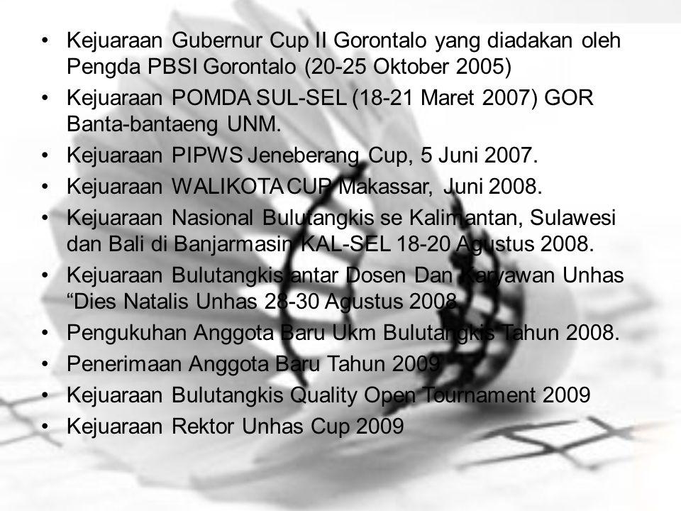 Kejuaraan Gubernur Cup II Gorontalo yang diadakan oleh Pengda PBSI Gorontalo (20-25 Oktober 2005) Kejuaraan POMDA SUL-SEL (18-21 Maret 2007) GOR Banta
