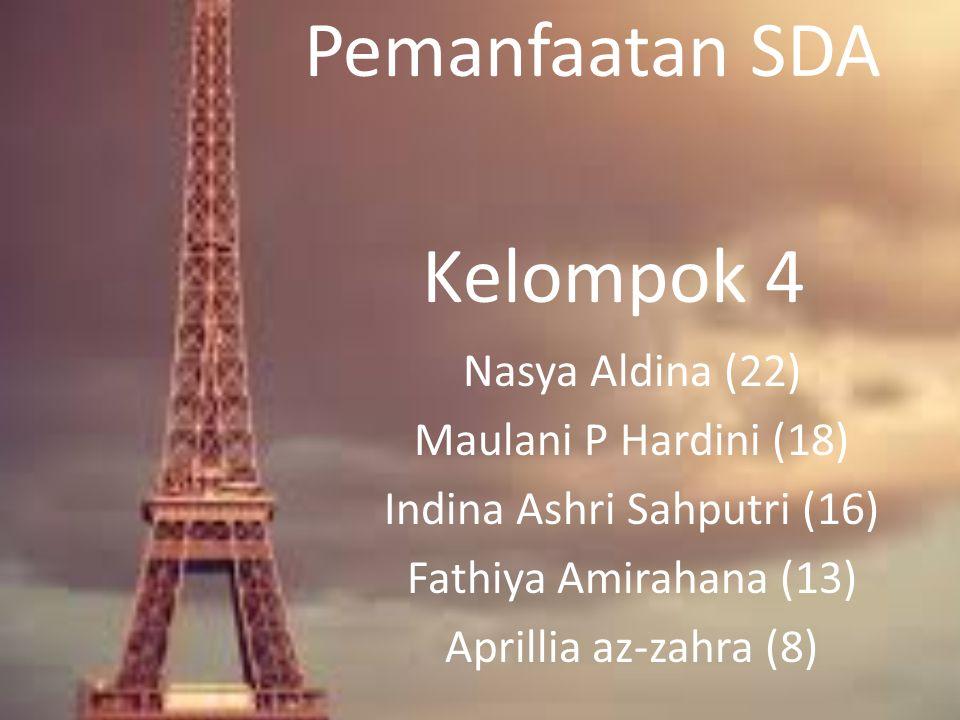 Pemanfaatan SDA Kelompok 4 Nasya Aldina (22) Maulani P Hardini (18) Indina Ashri Sahputri (16) Fathiya Amirahana (13) Aprillia az-zahra (8)