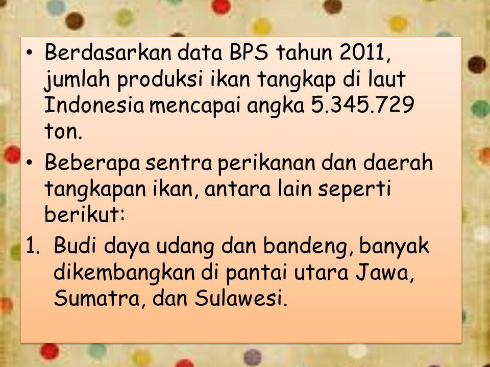 Berdasarkan data BPS tahun 2011, jumlah produksi ikan tangkap di laut Indonesia mencapai angka 5.345.729 ton. Beberapa sentra perikanan dan daerah tan