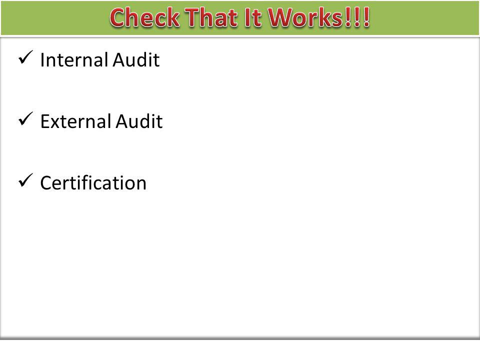 Internal Audit External Audit Certification