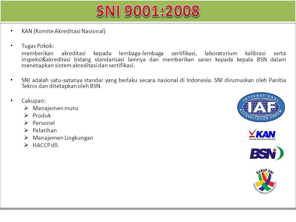 KAN (Komite Akreditasi Nasional) Tugas Pokok: memberikan akreditasi kepada lembaga-lembaga sertifikasi, laboratorium kalibrasi serta inspeksi&akredita
