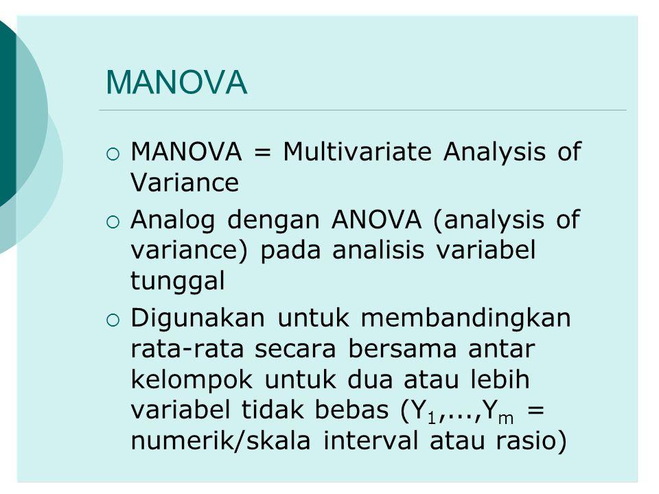 MANOVA  MANOVA = Multivariate Analysis of Variance  Analog dengan ANOVA (analysis of variance) pada analisis variabel tunggal  Digunakan untuk memb