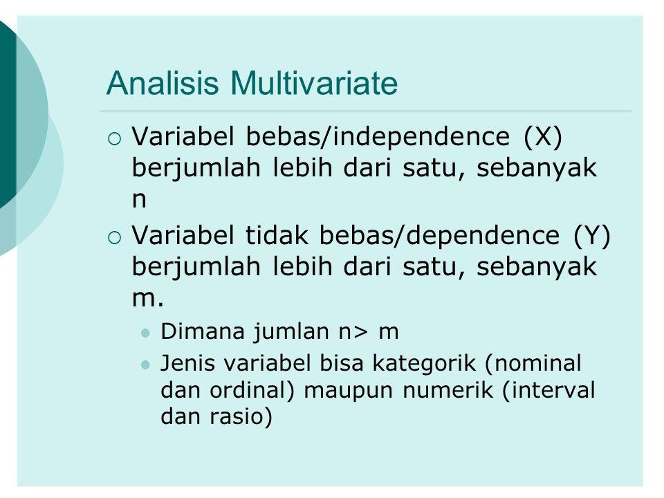 MANOVA  MANOVA = Multivariate Analysis of Variance  Analog dengan ANOVA (analysis of variance) pada analisis variabel tunggal  Digunakan untuk membandingkan rata-rata secara bersama antar kelompok untuk dua atau lebih variabel tidak bebas (Y 1,...,Y m = numerik/skala interval atau rasio)