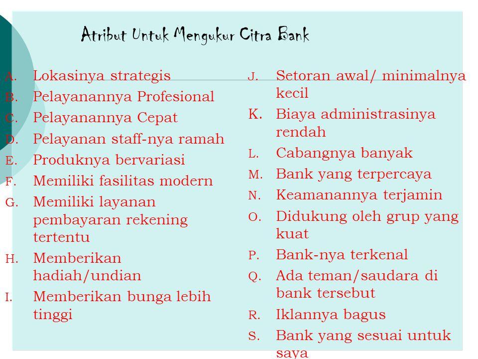 Atribut Untuk Mengukur Citra Bank A. Lokasinya strategis B. Pelayanannya Profesional C. Pelayanannya Cepat D. Pelayanan staff-nya ramah E. Produknya b