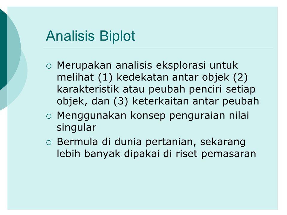 Analisis Biplot  Merupakan analisis eksplorasi untuk melihat (1) kedekatan antar objek (2) karakteristik atau peubah penciri setiap objek, dan (3) ke