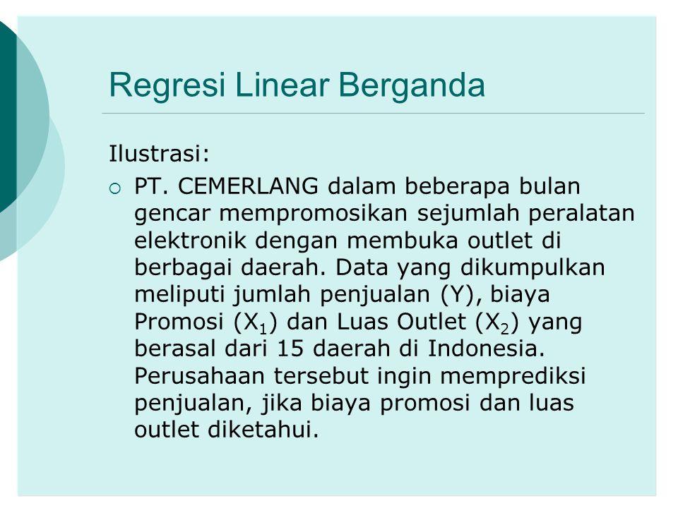 Regresi Linear Berganda Ilustrasi:  PT. CEMERLANG dalam beberapa bulan gencar mempromosikan sejumlah peralatan elektronik dengan membuka outlet di be
