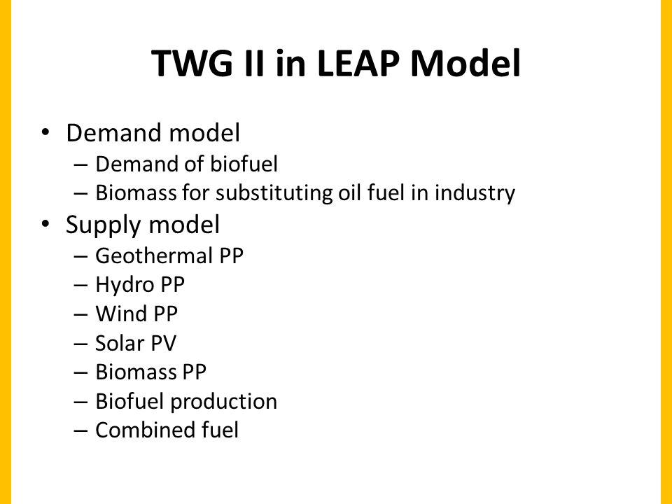 TWG II in LEAP Model Demand model – Demand of biofuel – Biomass for substituting oil fuel in industry Supply model – Geothermal PP – Hydro PP – Wind PP – Solar PV – Biomass PP – Biofuel production – Combined fuel