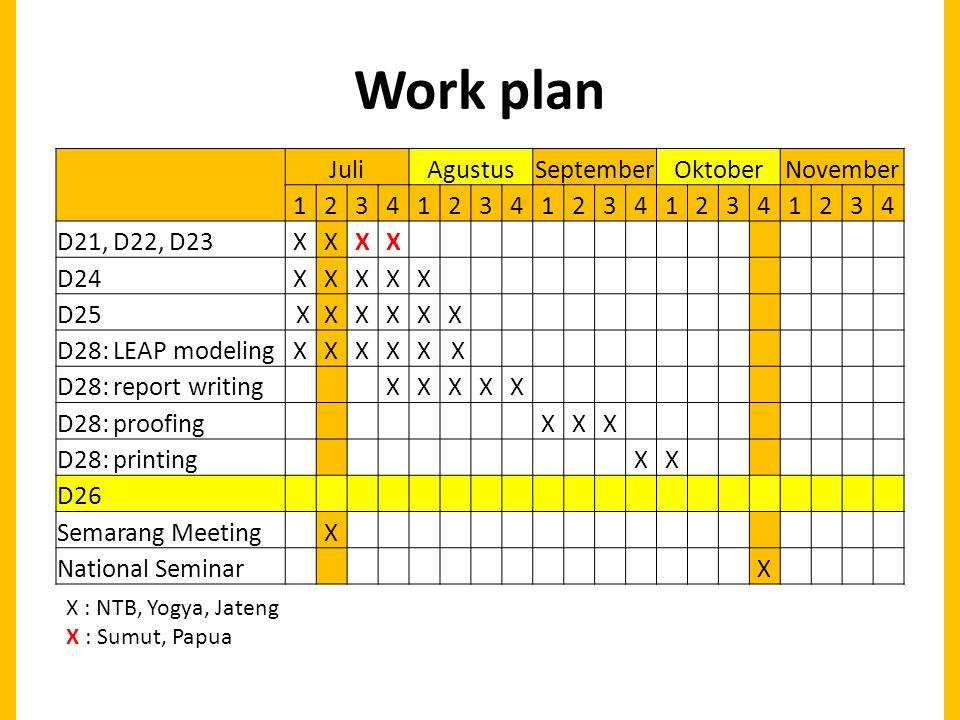 Work plan JuliAgustusSeptemberOktoberNovember 12341234123412341234 D21, D22, D23XXXX D24XXXXX D25 XXXXXX D28: LEAP modelingXXXXX X D28: report writing XXXXX D28: proofing XXX D28: printing XX D26 Semarang Meeting X National Seminar X X : NTB, Yogya, Jateng X : Sumut, Papua