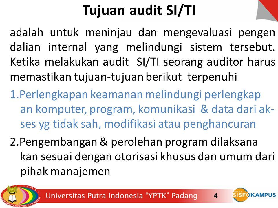 Tujuan audit SI/TI adalah untuk meninjau dan mengevaluasi pengen dalian internal yang melindungi sistem tersebut. Ketika melakukan audit SI/TI seorang