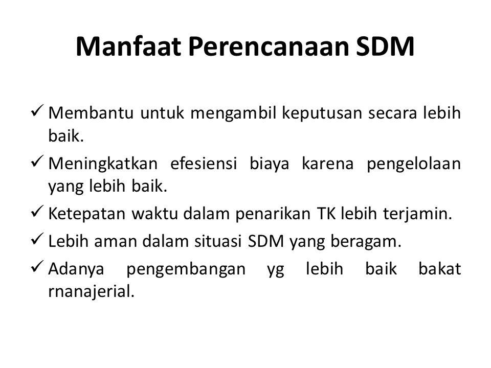 Manfaat Perencanaan SDM Membantu untuk mengambil keputusan secara lebih baik.
