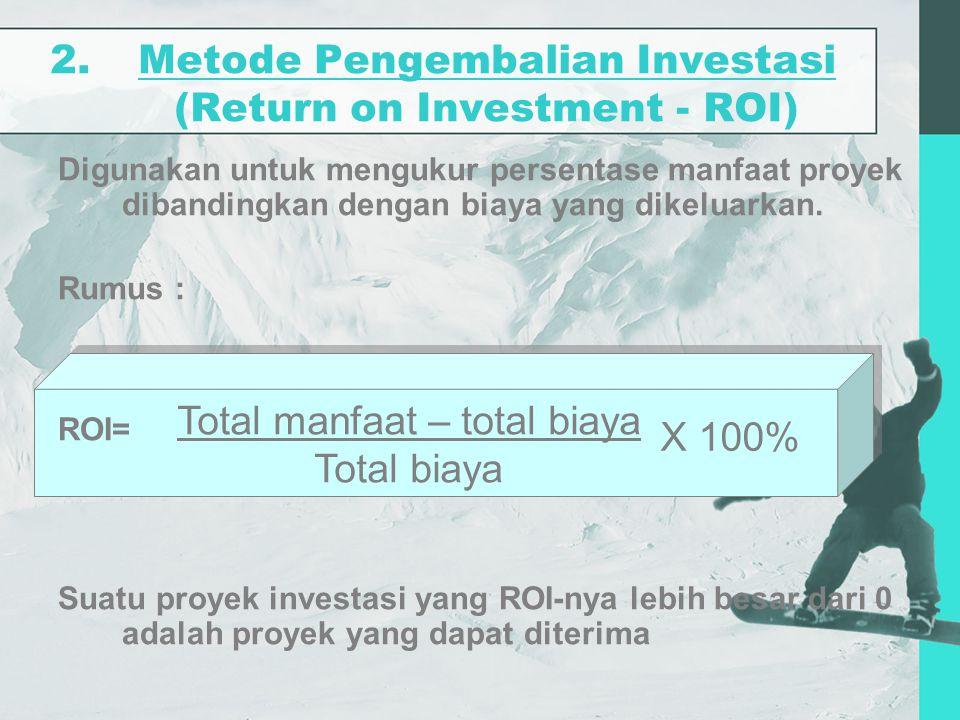2.Metode Pengembalian Investasi (Return on Investment - ROI) Digunakan untuk mengukur persentase manfaat proyek dibandingkan dengan biaya yang dikelua