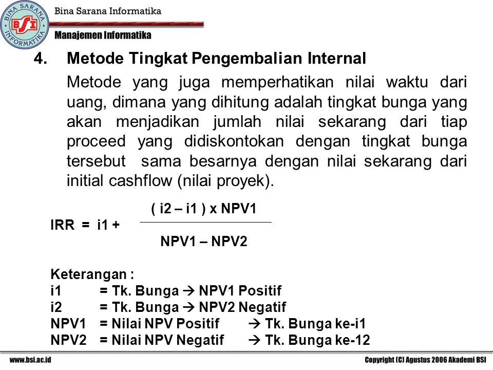 4.Metode Tingkat Pengembalian Internal Metode yang juga memperhatikan nilai waktu dari uang, dimana yang dihitung adalah tingkat bunga yang akan menja