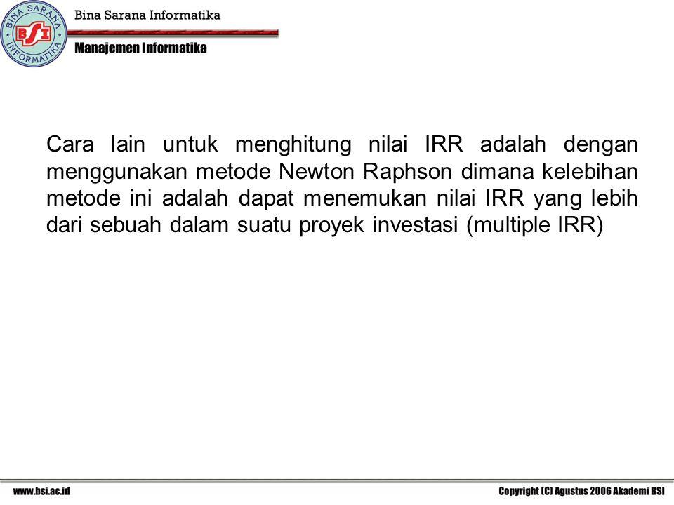 Cara lain untuk menghitung nilai IRR adalah dengan menggunakan metode Newton Raphson dimana kelebihan metode ini adalah dapat menemukan nilai IRR yang