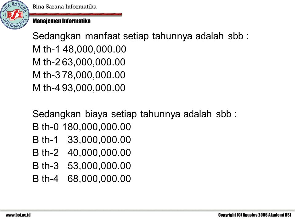 Sedangkan manfaat setiap tahunnya adalah sbb : M th-1 48,000,000.00 M th-263,000,000.00 M th-378,000,000.00 M th-493,000,000.00 Sedangkan biaya setiap