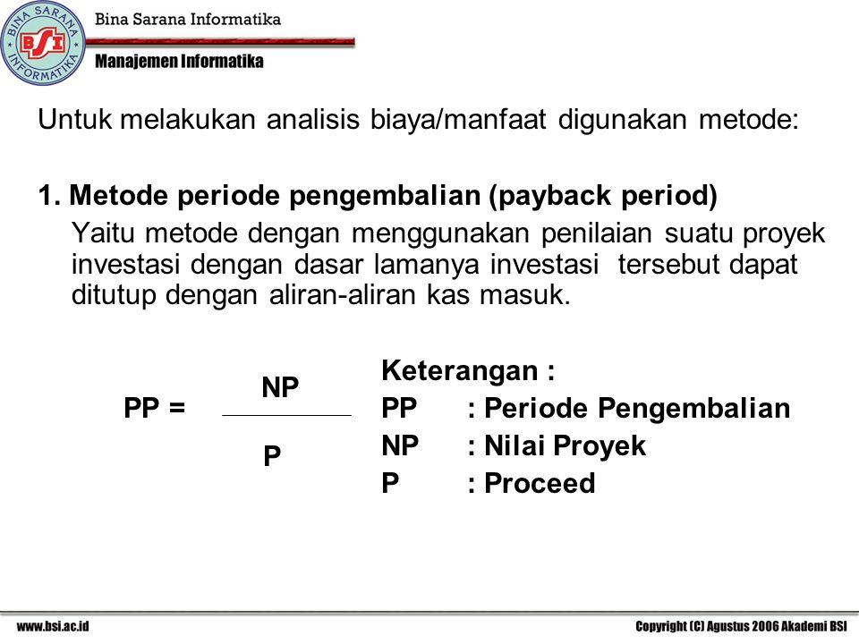 Untuk melakukan analisis biaya/manfaat digunakan metode: 1. Metode periode pengembalian (payback period) Yaitu metode dengan menggunakan penilaian sua