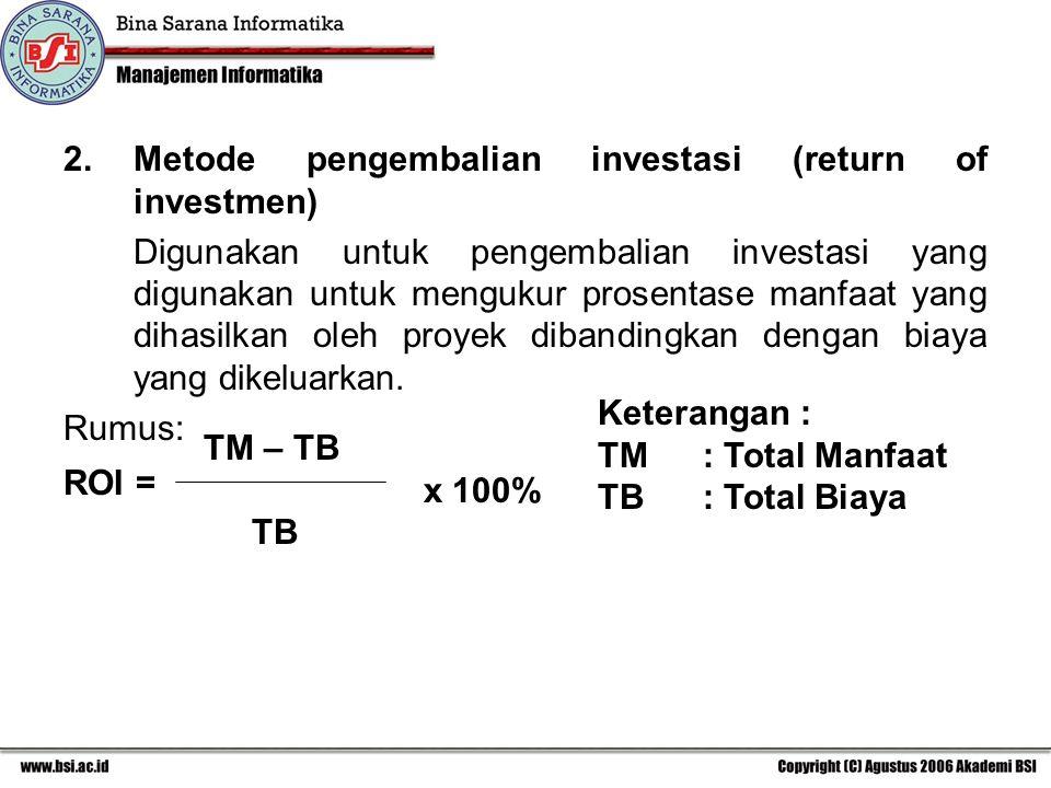 2.Metode pengembalian investasi (return of investmen) Digunakan untuk pengembalian investasi yang digunakan untuk mengukur prosentase manfaat yang dih