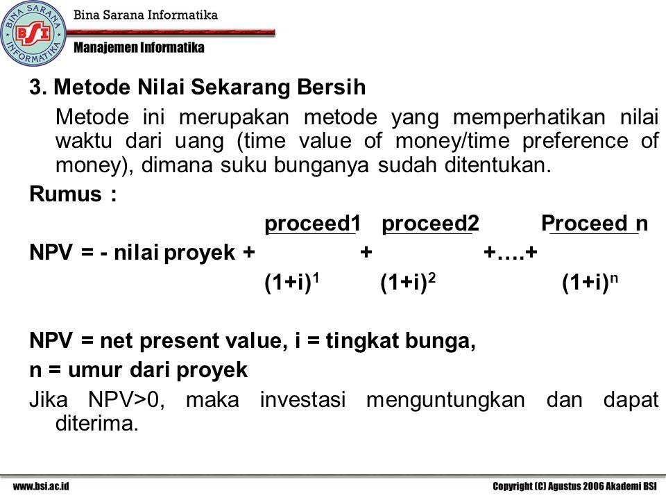 3. Metode Nilai Sekarang Bersih Metode ini merupakan metode yang memperhatikan nilai waktu dari uang (time value of money/time preference of money), d