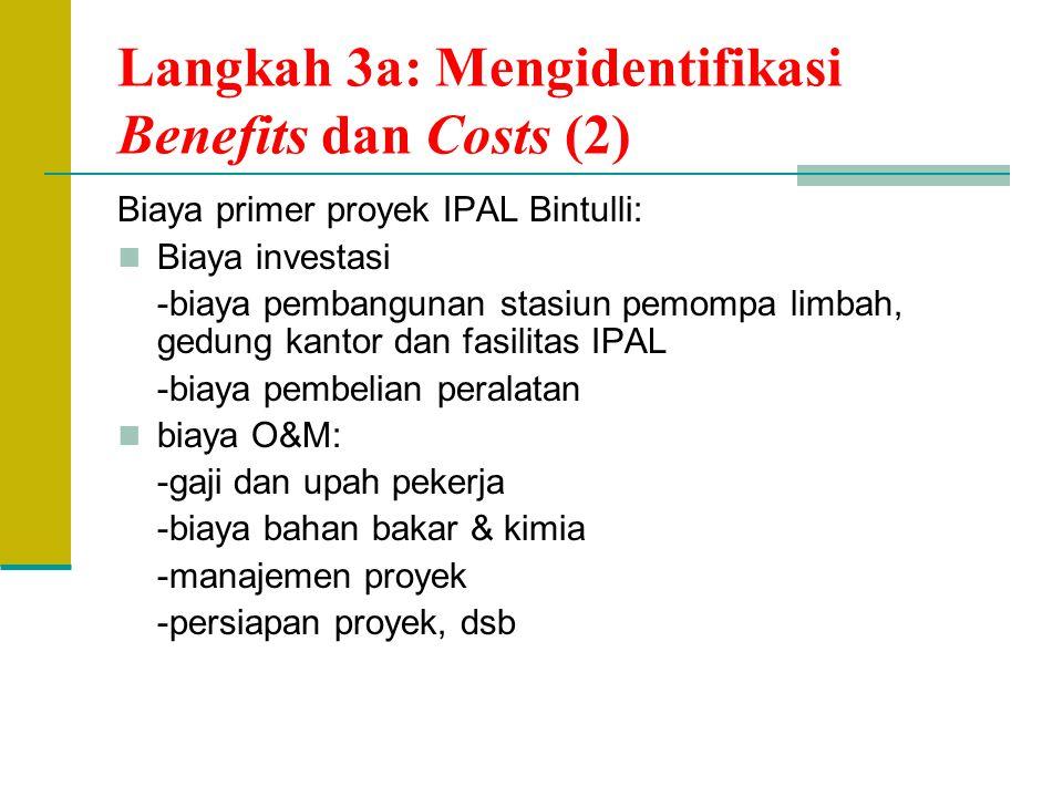 Langkah 3a: Mengidentifikasi Benefits dan Costs (2) Biaya primer proyek IPAL Bintulli: Biaya investasi -biaya pembangunan stasiun pemompa limbah, gedu