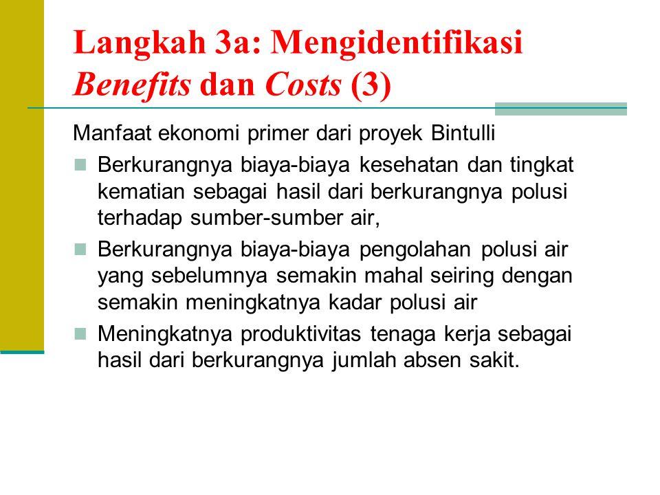 Langkah 3a: Mengidentifikasi Benefits dan Costs (3) Manfaat ekonomi primer dari proyek Bintulli Berkurangnya biaya-biaya kesehatan dan tingkat kematia