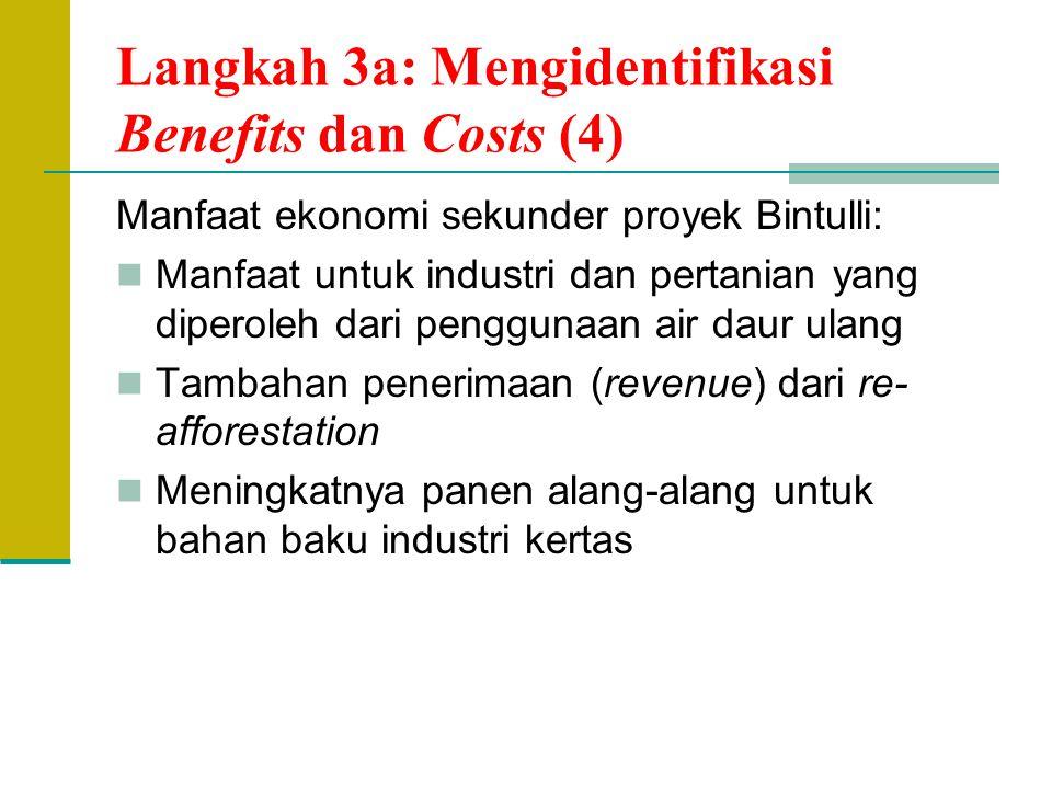 Langkah 3a: Mengidentifikasi Benefits dan Costs (4) Manfaat ekonomi sekunder proyek Bintulli: Manfaat untuk industri dan pertanian yang diperoleh dari