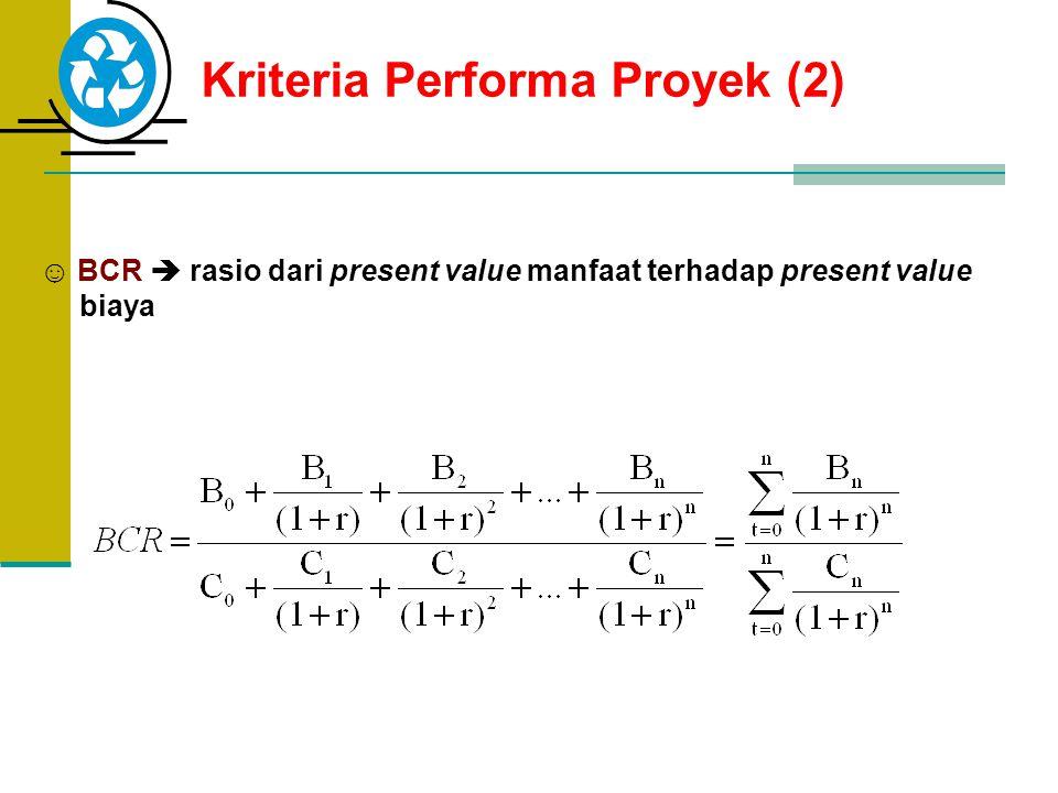Kriteria Performa Proyek (2) ☺ BCR  rasio dari present value manfaat terhadap present value biaya
