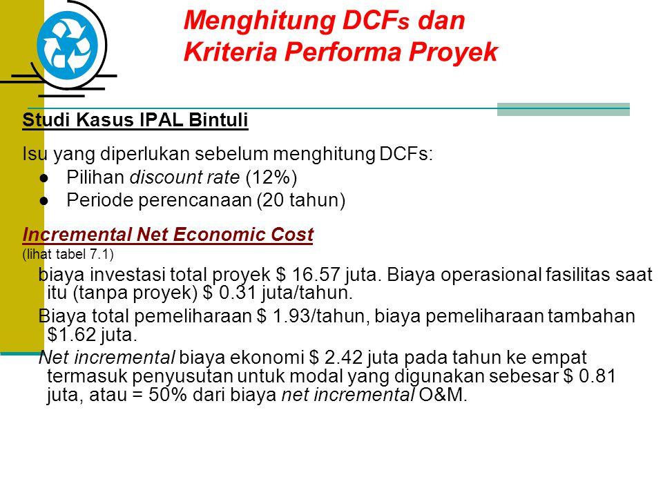 Menghitung DCF s dan Kriteria Performa Proyek Studi Kasus IPAL Bintuli Isu yang diperlukan sebelum menghitung DCFs: ● Pilihan discount rate (12%) ● Pe