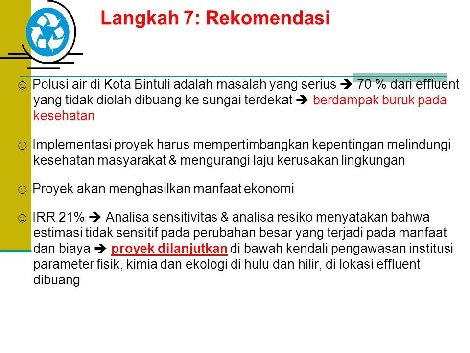 Langkah 7: Rekomendasi ☺ Polusi air di Kota Bintuli adalah masalah yang serius  70 % dari effluent yang tidak diolah dibuang ke sungai terdekat  ber