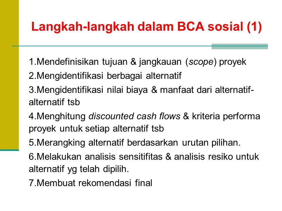 Langkah-langkah dalam BCA sosial (1) 1.Mendefinisikan tujuan & jangkauan (scope) proyek 2.Mengidentifikasi berbagai alternatif 3.Mengidentifikasi nila