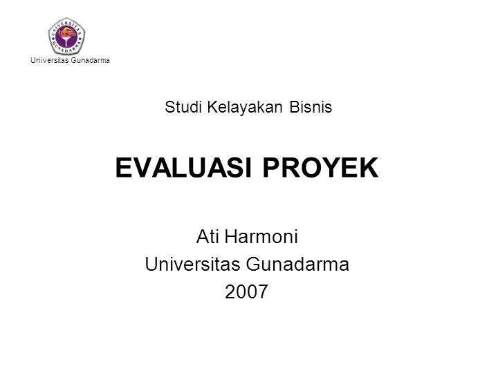 Universitas Gunadarma Studi Kelayakan Bisnis Ati Harmoni 12 Dari tabel terlihat bahwa jumlah dana proyek Rp.