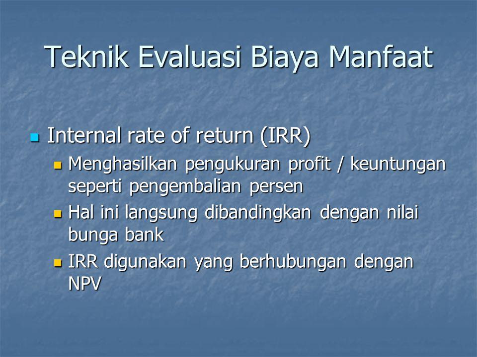 Teknik Evaluasi Biaya Manfaat IRR adalah nilai diskon ketika NPV = 0 IRR adalah nilai diskon ketika NPV = 0 Contoh pada proyek 1 IRR > 10% Contoh pada proyek 1 IRR > 10% Menghitung IRR adalah trail and error jika dilakukan dengan manual Menghitung IRR adalah trail and error jika dilakukan dengan manual IRR dapat diperkirakan dengan menggunakan metoda grafik IRR dapat diperkirakan dengan menggunakan metoda grafik Spreadsheet lebih sering digunakan untuk menghitung IRR Spreadsheet lebih sering digunakan untuk menghitung IRR