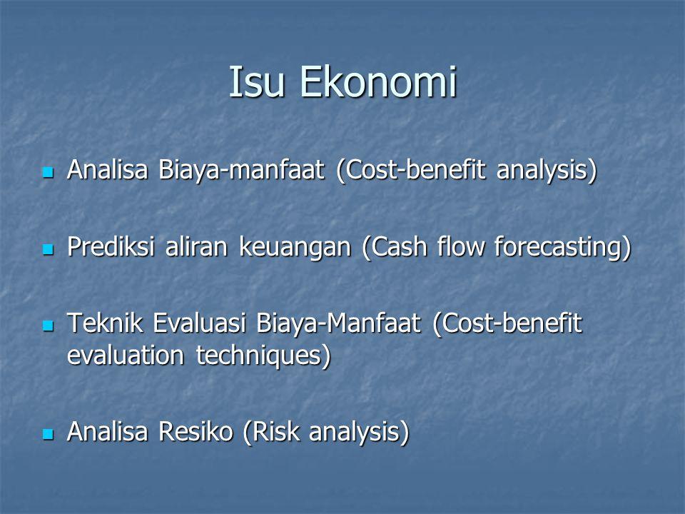 Analisa Biaya-Manfaat Komparasi perkiraan biaya dan manfaat Komparasi perkiraan biaya dan manfaat Pertanyaan umum adalah Pertanyaan umum adalah Apakah pendapatan dan manfaat lainnya melebihi biaya .