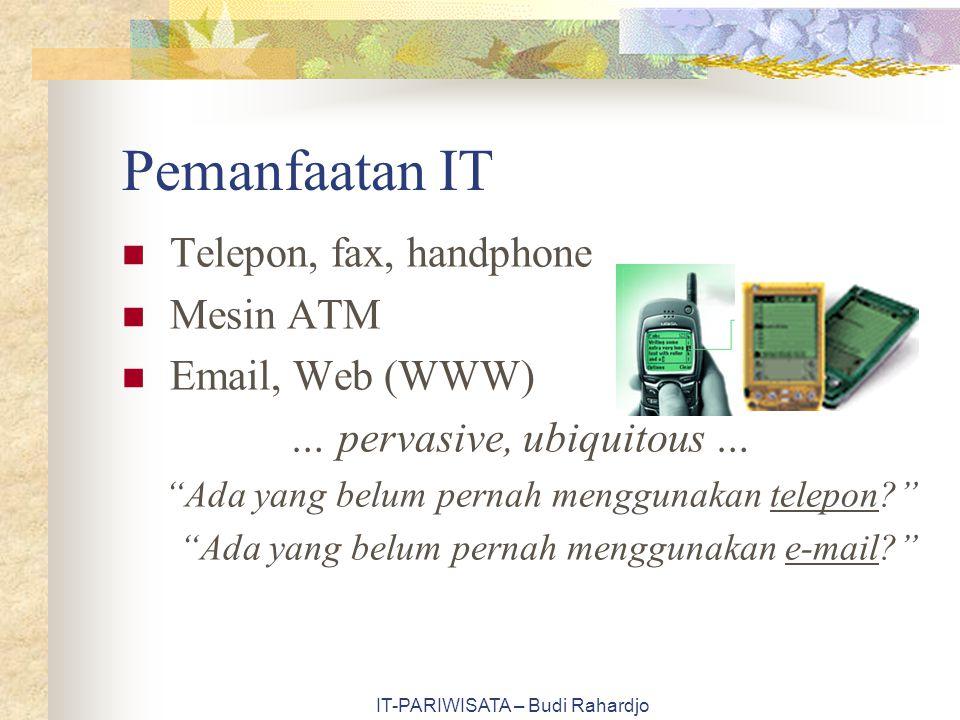"""IT-PARIWISATA – Budi Rahardjo Pemanfaatan IT Telepon, fax, handphone Mesin ATM Email, Web (WWW) … pervasive, ubiquitous … """"Ada yang belum pernah mengg"""