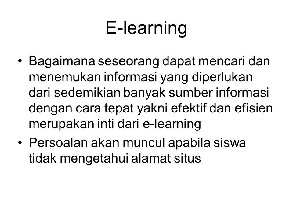 E-learning Bagaimana seseorang dapat mencari dan menemukan informasi yang diperlukan dari sedemikian banyak sumber informasi dengan cara tepat yakni e