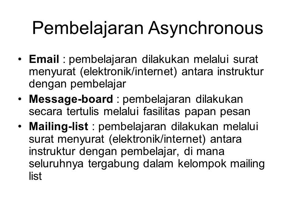 Email : pembelajaran dilakukan melalui surat menyurat (elektronik/internet) antara instruktur dengan pembelajar Message-board : pembelajaran dilakukan