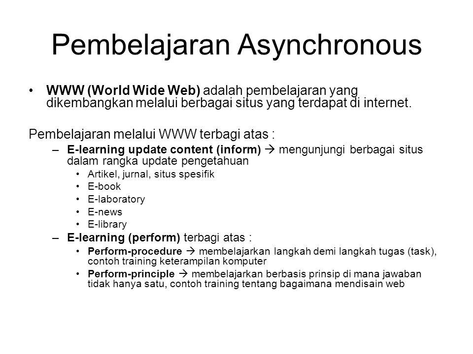 WWW (World Wide Web) adalah pembelajaran yang dikembangkan melalui berbagai situs yang terdapat di internet. Pembelajaran melalui WWW terbagi atas : –