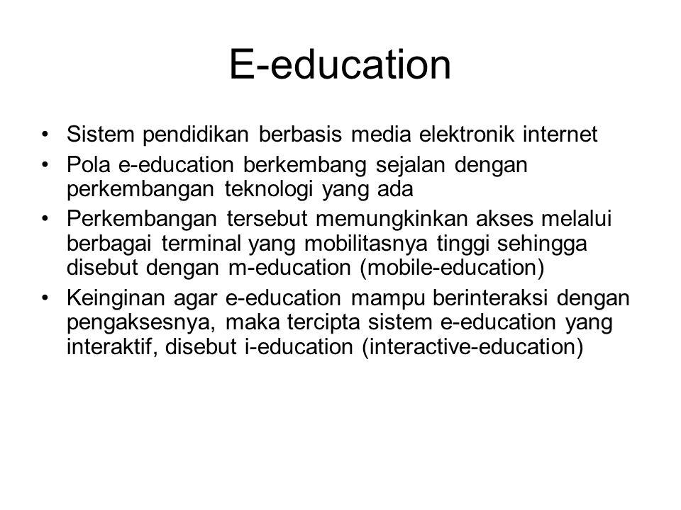 E-education Sistem pendidikan berbasis media elektronik internet Pola e-education berkembang sejalan dengan perkembangan teknologi yang ada Perkembang