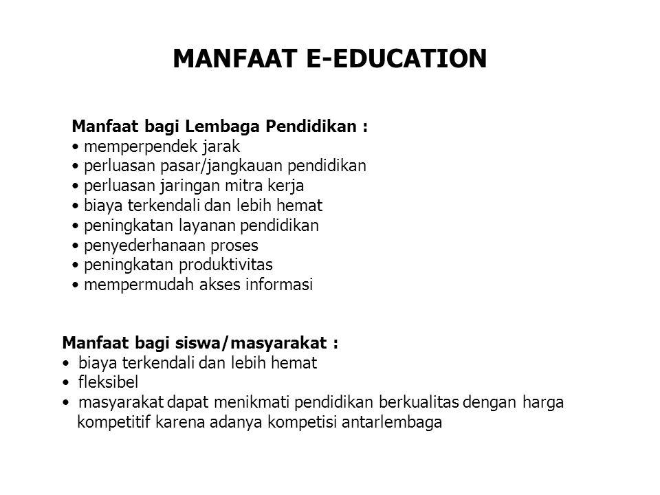 MANFAAT E-EDUCATION Manfaat bagi Lembaga Pendidikan : memperpendek jarak perluasan pasar/jangkauan pendidikan perluasan jaringan mitra kerja biaya ter