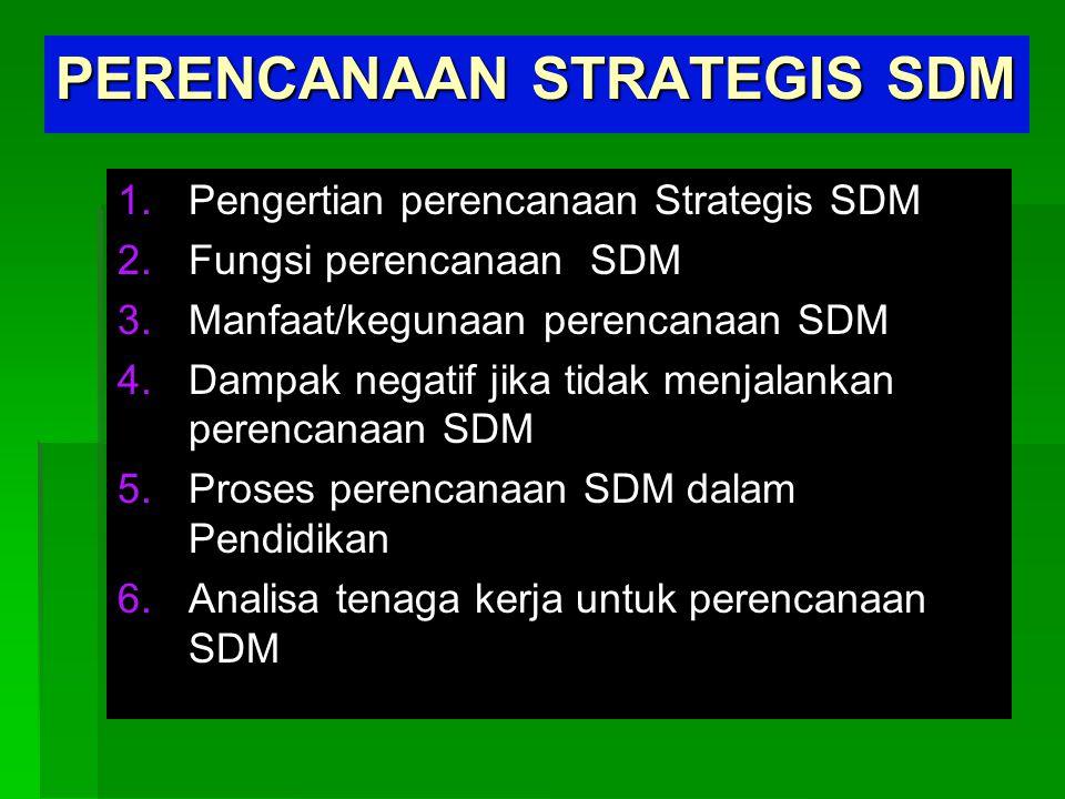 PERENCANAAN STRATEGIS SDM 1. 1.Pengertian perencanaan Strategis SDM 2. 2.Fungsi perencanaan SDM 3. 3.Manfaat/kegunaan perencanaan SDM 4. 4.Dampak nega