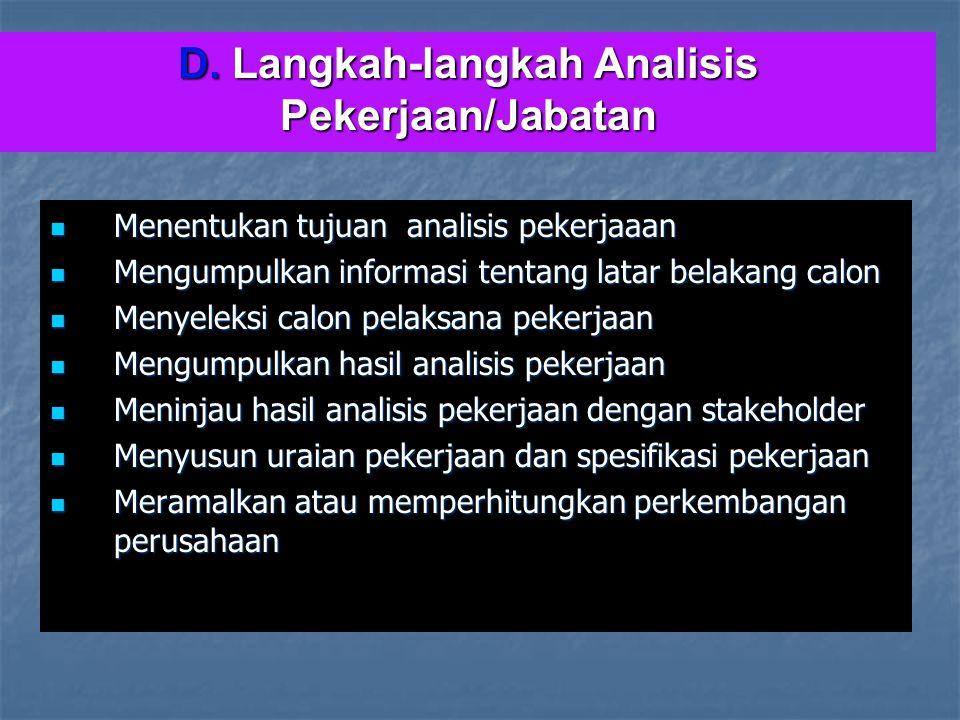 D. Langkah-langkah Analisis Pekerjaan/Jabatan Menentukan tujuan analisis pekerjaaan Menentukan tujuan analisis pekerjaaan Mengumpulkan informasi tenta