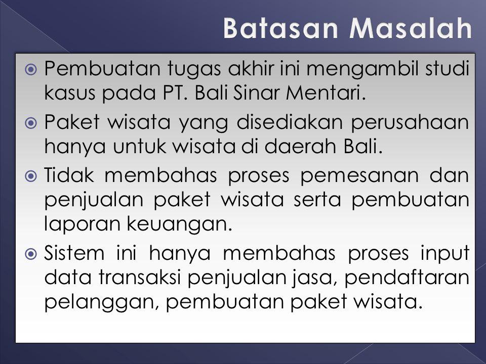  Pembuatan tugas akhir ini mengambil studi kasus pada PT. Bali Sinar Mentari.  Paket wisata yang disediakan perusahaan hanya untuk wisata di daerah