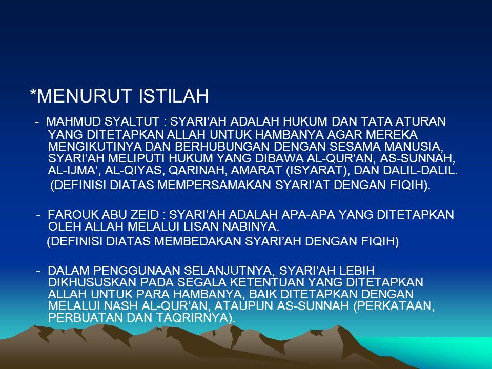 PENGERTIAN PENGERTIAN 1.PENGERTIAN SYARI'AH MENURUT BAHASA/LUGHAT, SYARI'AH BERARTI SUMBER AIR YANG DITUJU. DLM BAHASA INDONESIA IA SERING DIARTIKAN D