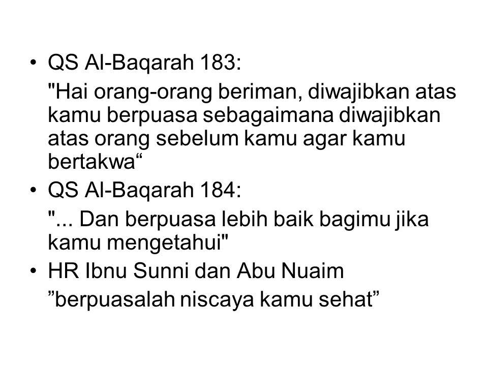QS Al-Baqarah 183: Hai orang-orang beriman, diwajibkan atas kamu berpuasa sebagaimana diwajibkan atas orang sebelum kamu agar kamu bertakwa QS Al-Baqarah 184: ...
