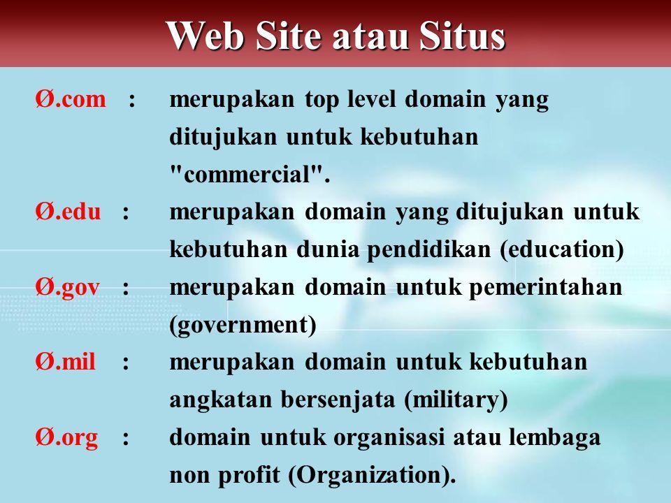 Web Site atau Situs Ø.com : merupakan top level domain yang ditujukan untuk kebutuhan