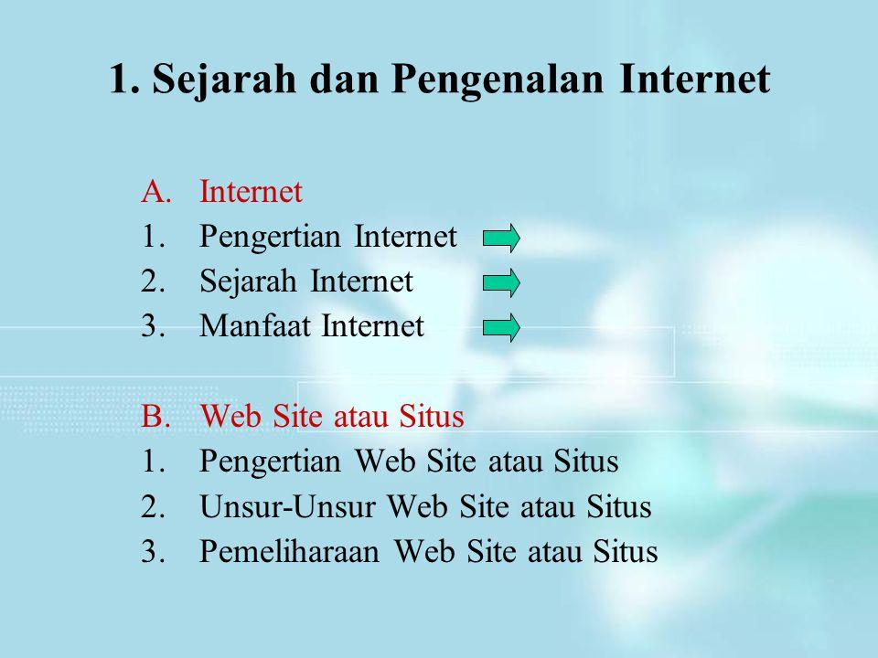 1. Sejarah dan Pengenalan Internet A.Internet 1.Pengertian Internet 2.Sejarah Internet 3.Manfaat Internet B.Web Site atau Situs 1.Pengertian Web Site