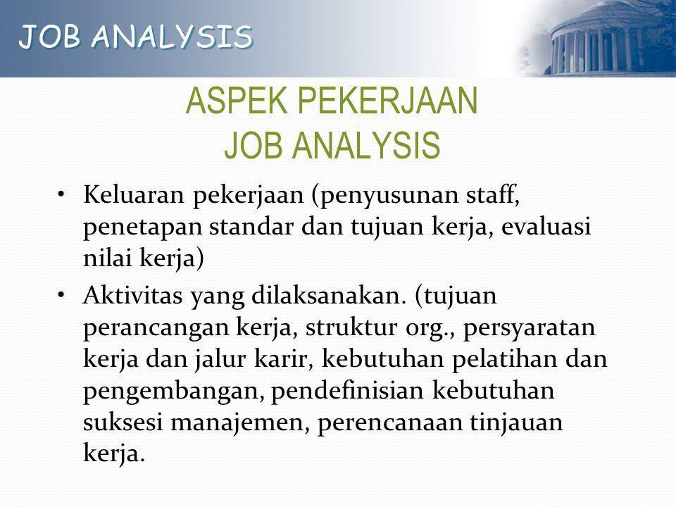 JOB ANALYSIS ASPEK PEKERJAAN JOB ANALYSIS Keluaran pekerjaan (penyusunan staff, penetapan standar dan tujuan kerja, evaluasi nilai kerja) Aktivitas ya